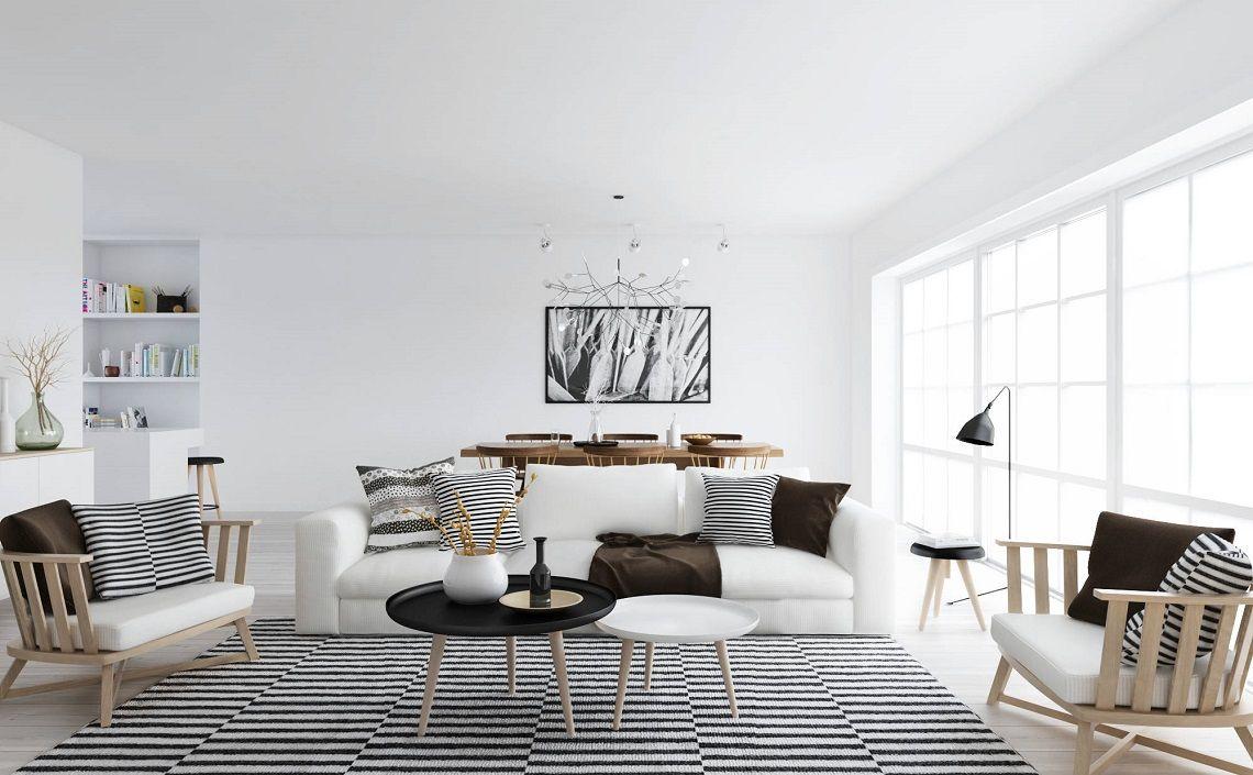 Ogromny Nowoczesny salon w skandynawskim stylu | Nowoczesne Lampy Meble NA92