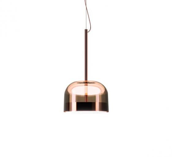 Equatore wisząca LED (Miedźróżowy, klosz Ø 23 cm) Fontana